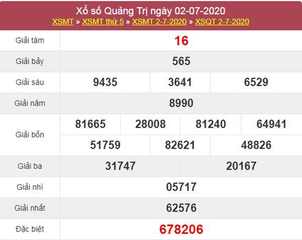 Thống kê XSQT 9/7/2020 chốt KQXS Quảng Trị thứ 5