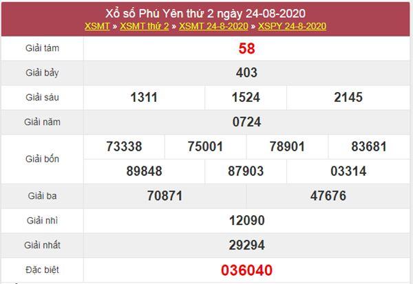 Thống kê XSPY 31/8/2020 chốt lô VIP Phú Yên thứ 2
