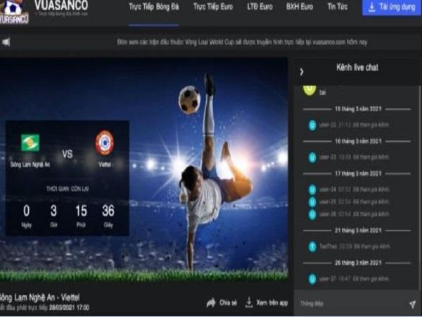 Website xem bóng đá trực tiếp hàng đầu: Vuasanco.com