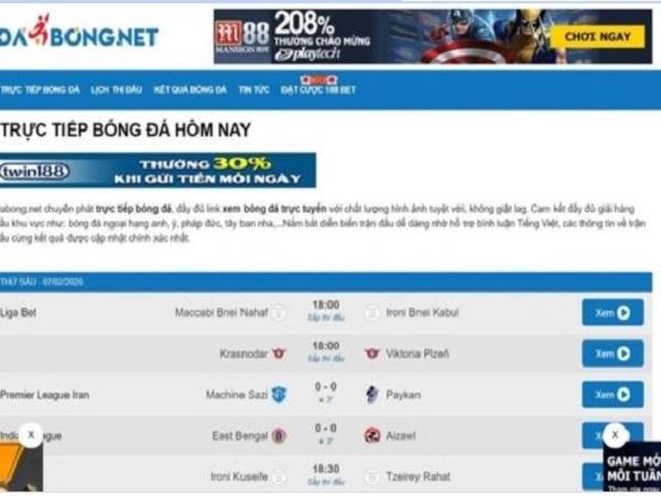 Web xem bóng đá trực tuyến: Dabong.net